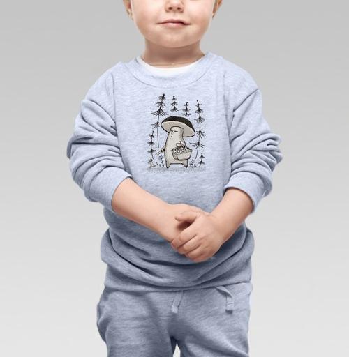 Cвитшот Детский серый меланж 320 гр стандарт - Грибы пошли