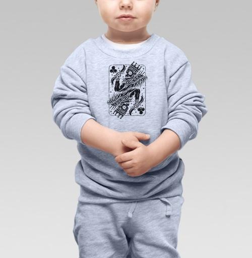 Cвитшот Детский серый меланж 320 гр стандарт - Скелетон Кинг