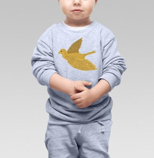 Cвитшот Детский серый меланж 320 гр стандарт - Птица счастья  с узорами на крыльях