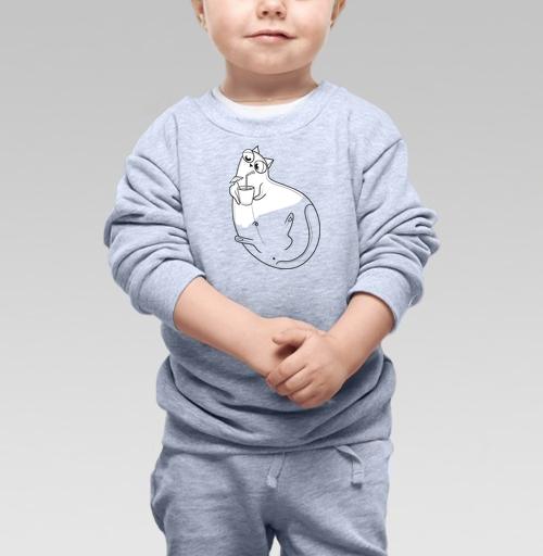 Cвитшот Детский серый меланж 320 гр стандарт - Отдыхающий кот Мамбл