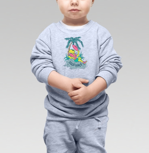 Cвитшот Детский серый меланж 320 гр стандарт - Позитивная Саламандра