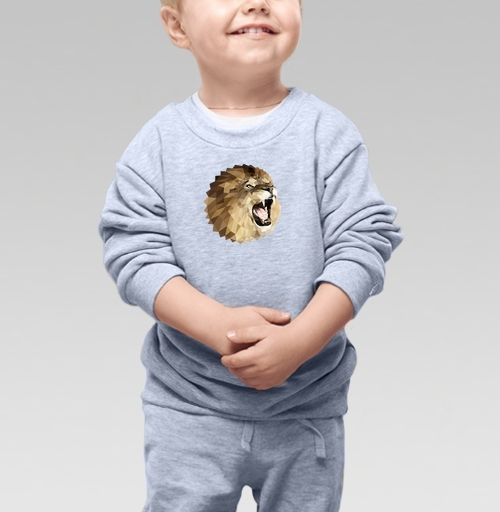 Cвитшот Детский серый меланж 320 гр стандарт - Лев с треугольником