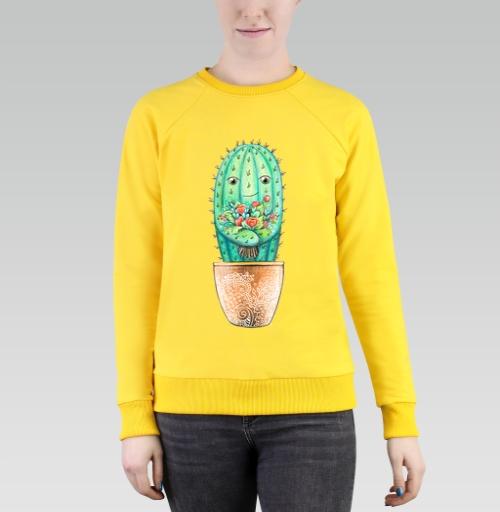 Cвитшот женский, желтый 240гр, тонкий - Кактус с цветами