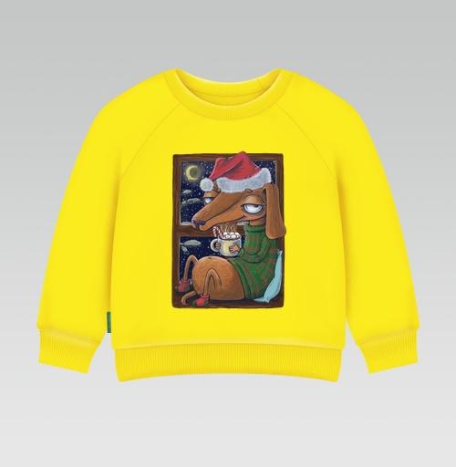 Cвитшот Детский желтый 240гр, тонкая - Уютный новогодний пес