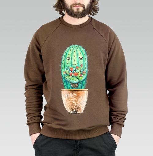 Свитшот мужской коричневый 320гр v2 - Кактус с цветами