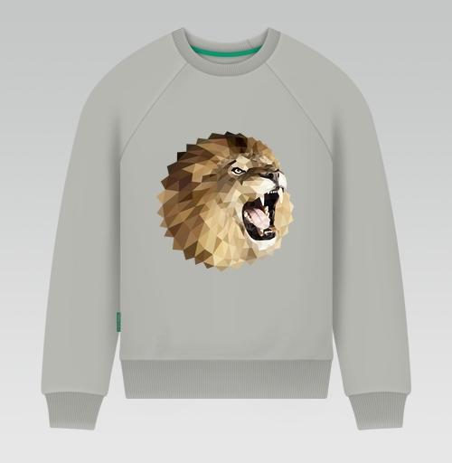 Свитшот мужской серый - Лев с треугольником