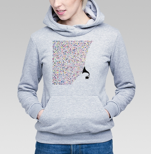 Цвета музыки, SofiaA, Магазин футболок SofiaA, Толстовка Женская серый меланж