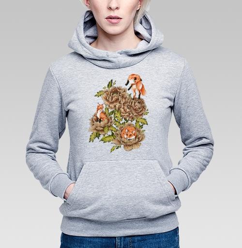 Цветочные лисы, 4erta, Толстовка Женская серый меланж 340гр, теплый