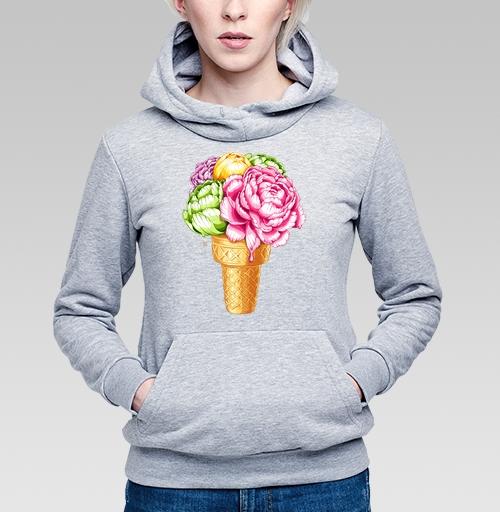 Любителям мороженного, Rina-Ru, Магазин футболок Rina-Ru, Толстовка Женская серый меланж