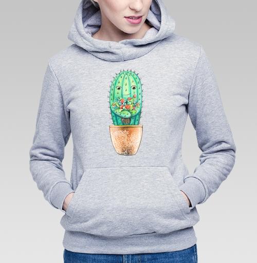 Толстовка Женская серый меланж 340гр, теплая - Кактус с цветами
