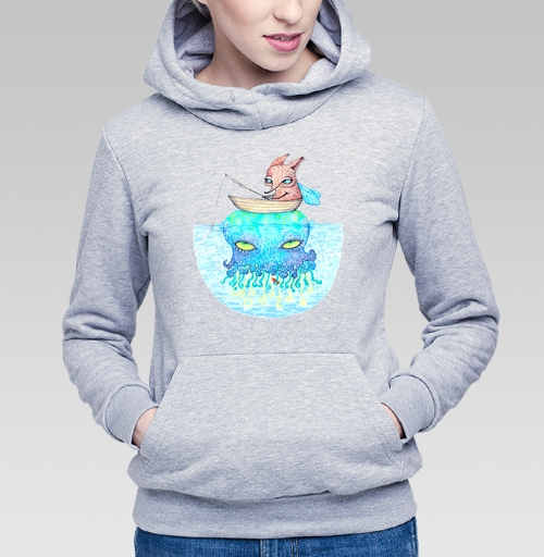 Рыбалка на медузе, KataMk, Магазин футболок  ^..^  Катейка, Толстовка Женская серый меланж 340гр, теплый