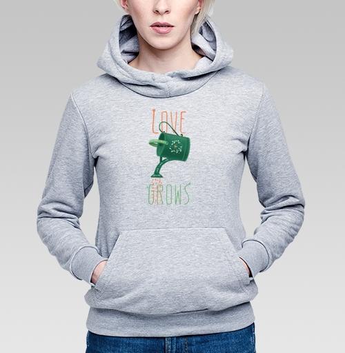 Лейка с любовью, evasabrekova, Магазин футболок evasabrekova, Толстовка Женская серый меланж 340гр, теплый