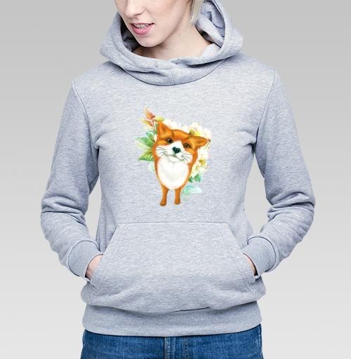 Лисёнок и розы, albino, Магазин футболок albino, Толстовка Женская серый меланж 340гр, теплый