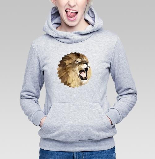 Толстовка Женская серый меланж 340гр, утепленная - Лев с треугольником