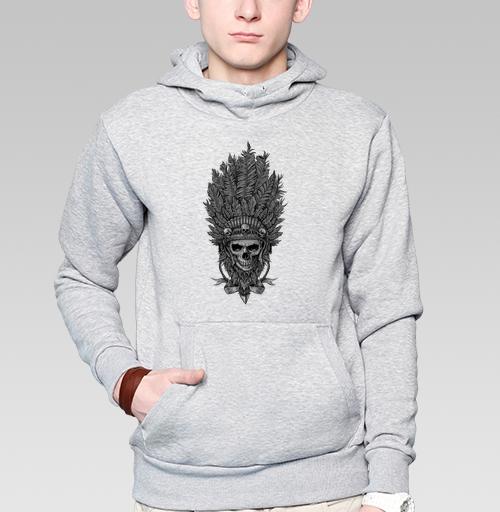 Толстовка мужская, накладной карман серый меланж - Вождь