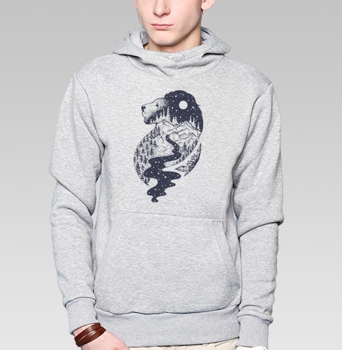 Толстовка мужская, накладной карман серый меланж - Таинственный лев