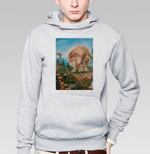 Толстовка мужская, накладной карман серый меланж - Зависла в фотошопе