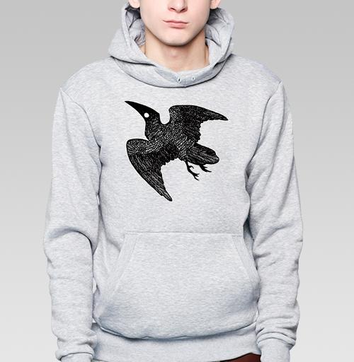 Толстовка мужская, накладной карман серый меланж - Ворон