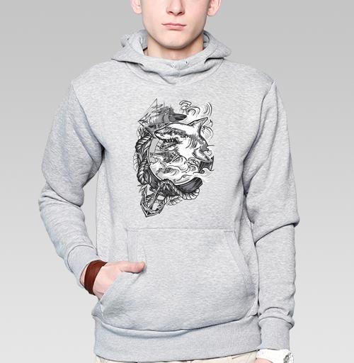 Толстовка мужская, накладной карман серый меланж - ЧЕЛЮСТИ АКУЛЫ