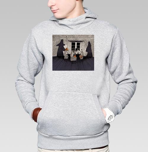 Толстовка мужская, накладной карман серый меланж - Мумики на кружке