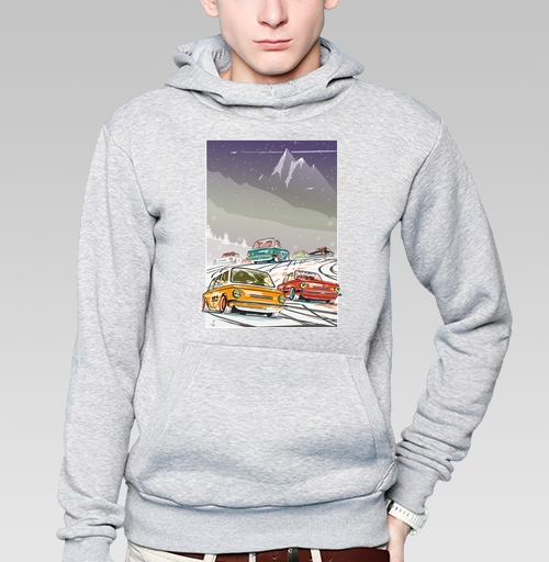 Толстовка мужская, накладной карман серый меланж - Ралли винтаж зимняя ночь