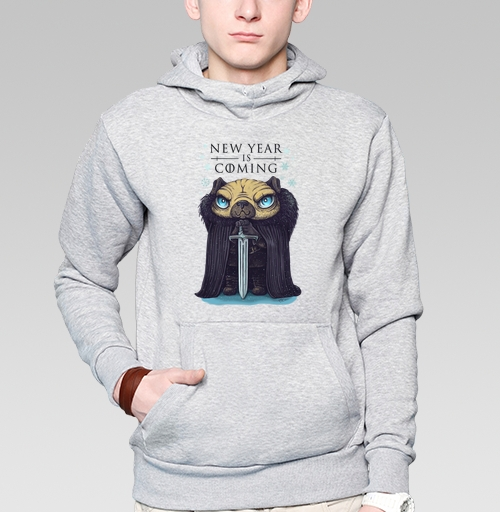 Толстовка мужская, накладной карман серый меланж - Дозорный новогодний пес
