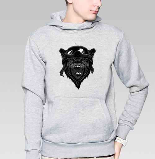 Толстовка мужская, накладной карман серый меланж - Злой медведь Ч.Б.
