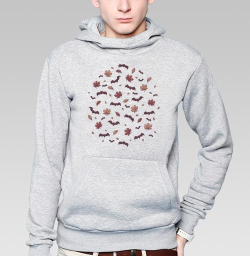 Толстовка мужская, накладной карман серый меланж - Паттерн с летучими мышами