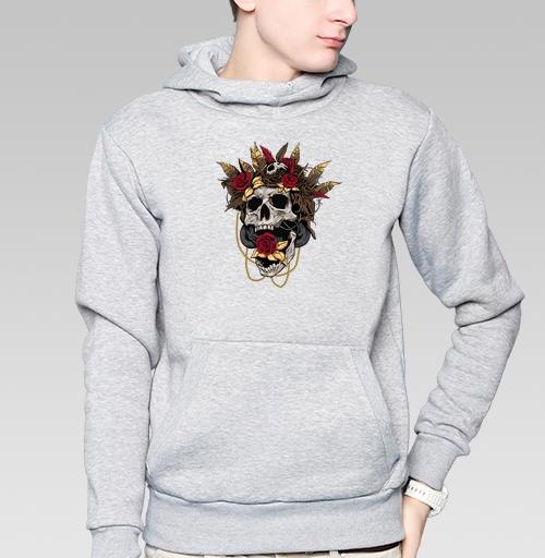 Толстовка мужская, накладной карман серый меланж - Гнездо кукушки