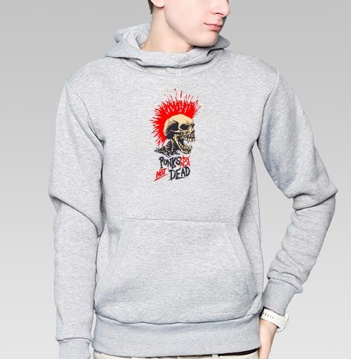 Толстовка мужская, накладной карман серый меланж - Punk not dead