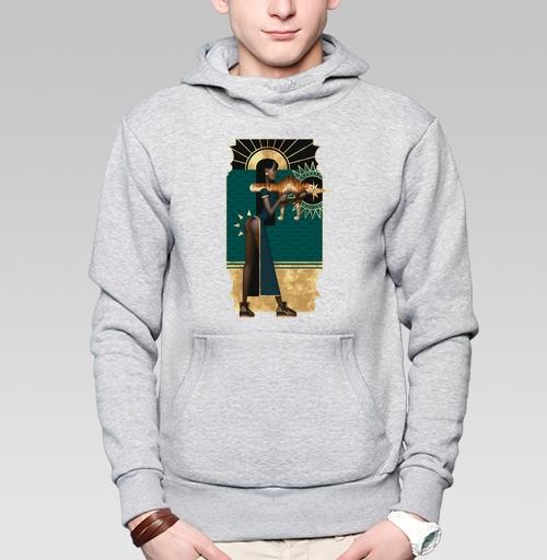 Толстовка мужская, накладной карман серый меланж - Рататата