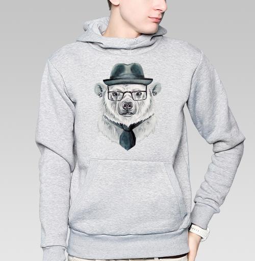 Толстовка мужская, накладной карман серый меланж - Белый медведь в шляпе
