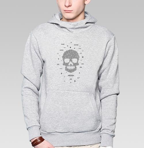 Толстовка мужская, накладной карман серый меланж - Код мертвеца