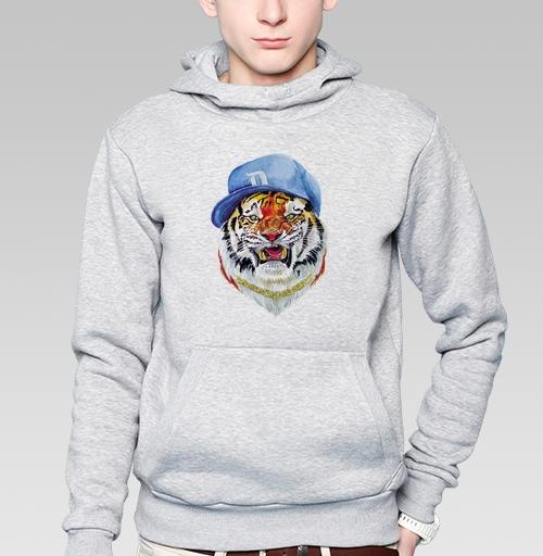 Толстовка мужская, накладной карман серый меланж - Тигр тот еще чувак