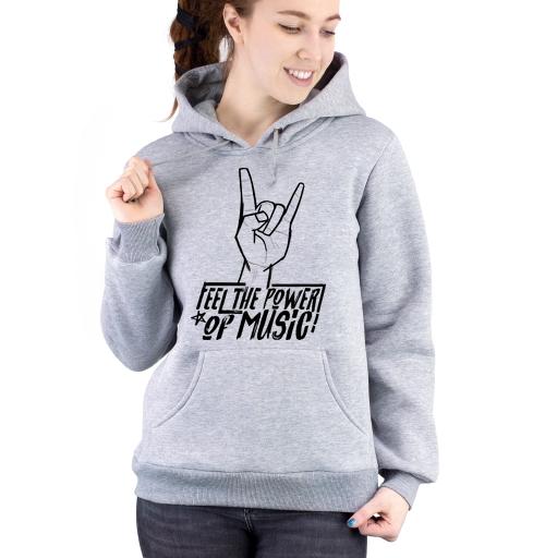 Толстовка Женская серый меланж 320гр, стандарт - Feel the power of music