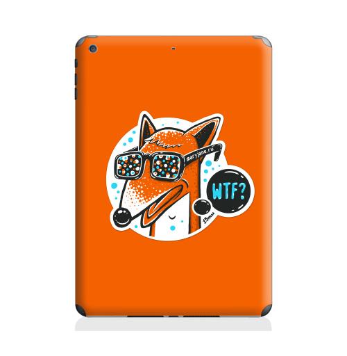 Наклейка на Планшет Apple iPad Air 2 WTF?,  купить в Москве – интернет-магазин Allskins, голубой, конфетти, очки, лиса, животные, хуй, оранжевый