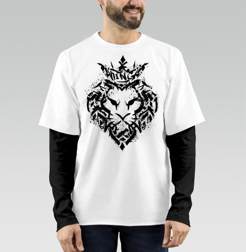 Футболка мужская лонгслив DoubleShirt - Граффити лев
