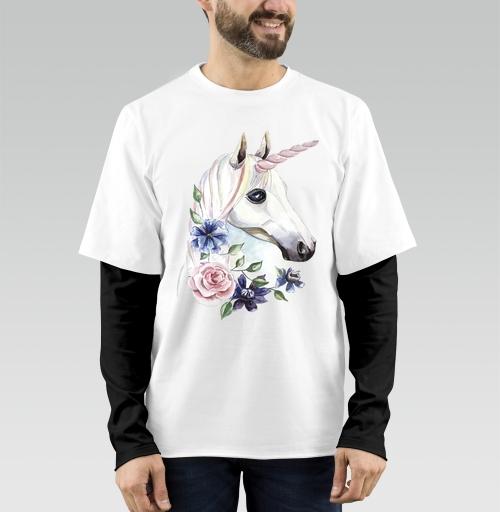 Футболка мужская лонгслив DoubleShirt - Единорог в цветах