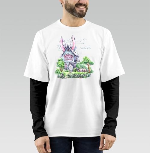 Футболка мужская лонгслив DoubleShirt - Домик Мартовского Зайца