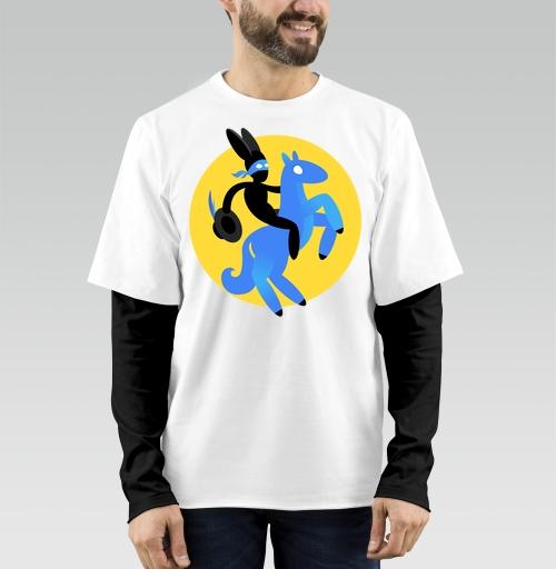 Футболка мужская лонгслив DoubleShirt - Синийконь