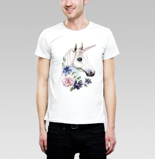 Футболка мужская  SLIM белая - Единорог в цветах