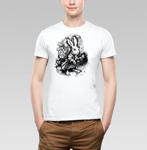Футболка мужская  SLIM белая - Заяц из алисы в стране чудес