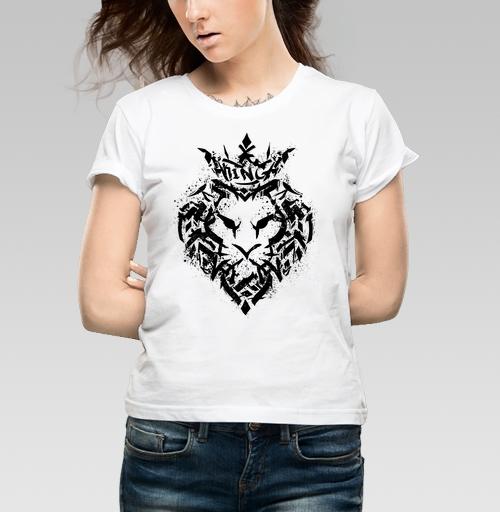 Футболка женская белая 180гр - Граффити лев