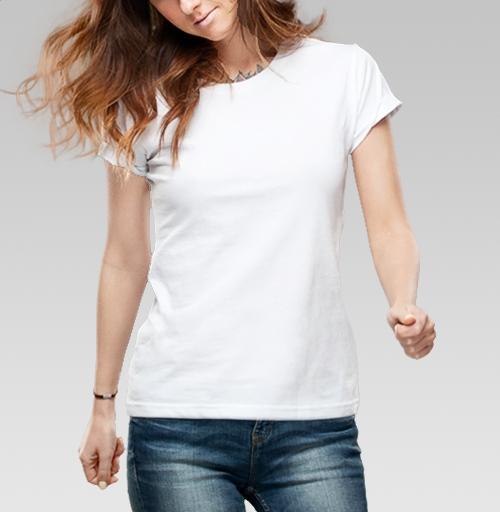 Футболка женская белая 180гр - Синийконь