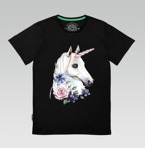 Футболка мужская SLIM чёрная - Единорог в цветах