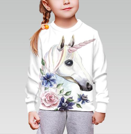 Cвитшот детский для девочки 3D (v2). - Единорог в цветах