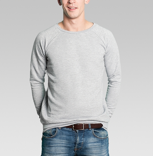 Свитшот мужской серый-меланж  320гр, стандарт - Белый медведь в шляпе