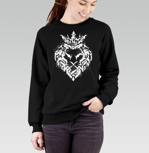Cвитшот женский черный Regular - Граффити лев
