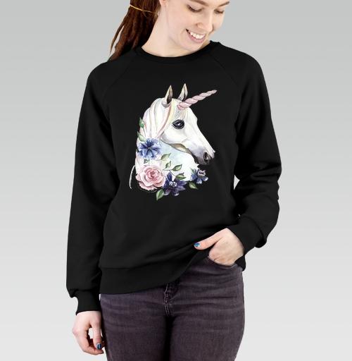 Cвитшот женский черный Regular - Единорог в цветах