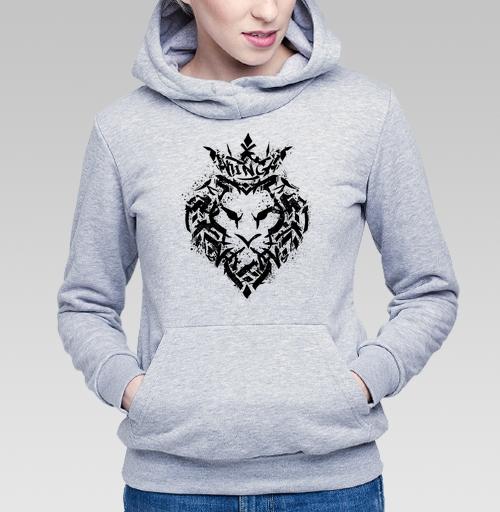 Толстовка Женская серый меланж 340гр, утепленная - Граффити лев